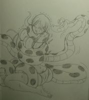 Kaa squeeze Orihime from Bleach by kaitakuan