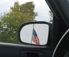 Flag in the rear view by justamom