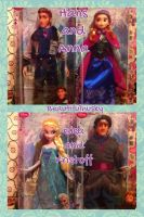 Hans, Anna, Elsa, and Kristoff Disney Store Dolls by BeautifulHusky