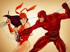Elektra vs Daredevil by Arioanindito