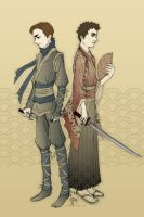 Ninja Kurt and Samurai Blaine by miryah