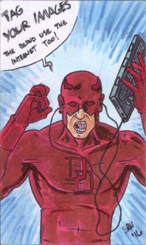 Daredevil angry at content tags (commission) by mmmmmpig