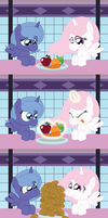 Celestia and Luna Eat their Fruits and Vegetables by T-3000