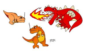 Fire Type Starter Monsters 1 by Cathto