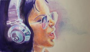 Skullcandy Girl - coloured pencil WIP3 by Joshua-Mozes