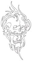 Tribal Skull Outline 08 by vikingtattoo