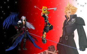 Sora vs Sephiroth wallpaper by RoxasTsuna