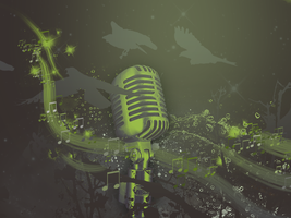 Microphone in Green Tones by eMoneyGraphix