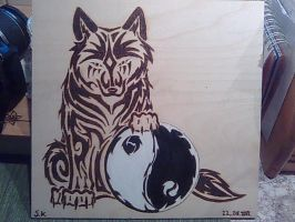 yin yang and wolf tribal by KazeandGeira