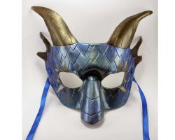 Aquatic Dragon Leather Mask by LucyLovesLeather