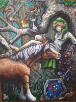 Midna, Epona and Link by LilleahWest
