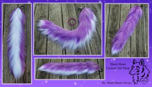 COMMISSION - 30in Purple and White yarn tail by Black-Heart-Always