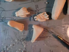 OOAK BJD hands and feet by Singhingbeads