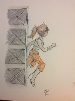Chell running through a portal by Physicskitty42