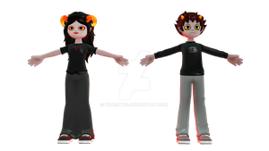 [MMD Newcomer] Karkat and Aradia Needs Rigging by Euphobea