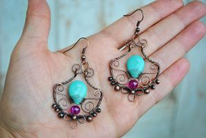 Copper Earrings by twistedjewelry