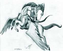 Bellerophontes and Pegasus by timacs