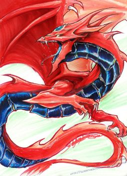 Slifer in Copics by slifertheskydragon