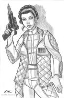 Leia Sketch Commission by em-scribbles