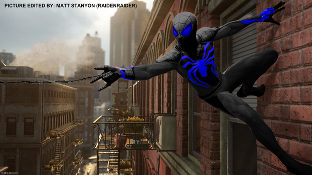 Spider-Man PS4 - Fan Poster (Blue Stealth Suit) by RaidenRaider