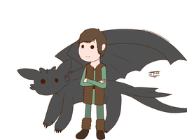 HTTYD - Chibi - Toothless and Hiccup by JackFrostOverland