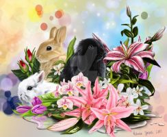 Rabbits and flowers by Zprokey