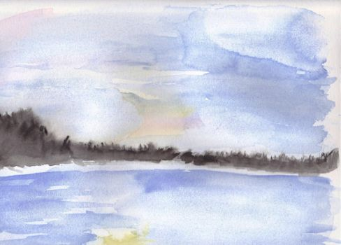 Lake Watercolor by buetly