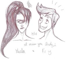 Leela and Fry 8D by mirrinight