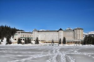Chateau Lake Louise in Winter by Joe-Lynn-Design