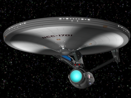 Enterprise with Running Lights by Fobok