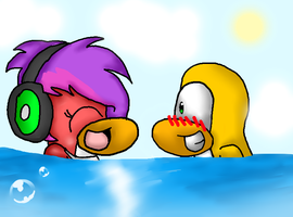 .::In the water::. by ChibiCatsArtits
