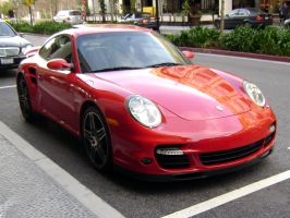 Red Porsche 911 Turbo front by Partywave