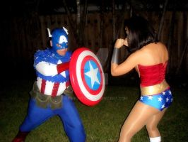 Captain America  Wonder Woman by geshorty34