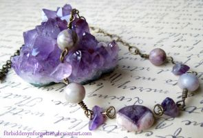 Amethyst Bronze Necklace by Forbiddenynforgotten