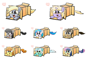 Pony Box Sprays (Background Ponys, transparent) by Quake-One