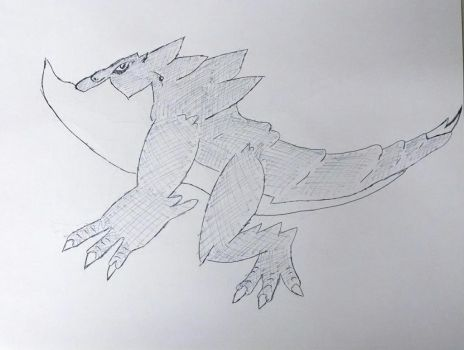 Large Fire Reptile Sketch by CloudyMind420