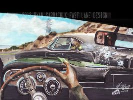 Bullitt Car Chase From Interior (Painting) by FastLaneIllustration