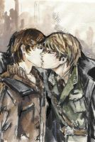 Kiss_watercolor sketch by Milwa-cz
