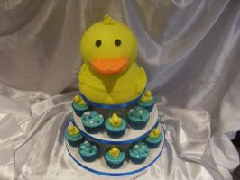 Duck cupcake tower by starry-design-studio