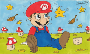 Super mario and his mushrooms by Kharotus