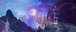 Dinky's Destiny still renders, Canterlot at night by MintyRoot