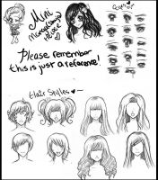Manga-Anime Shoujo Helper :Eyes and Hair :I by Lettelira