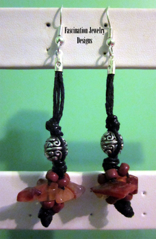 Tribal Red Aventurine Earrings by BloodRed-Orchid