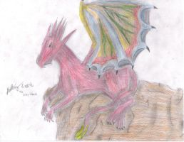 Dragon on Rock Cliff- Colored by ArtistGreyGhost