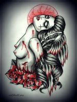 FALLEN ANGEL tattoo design by oldSkullLovebyMW
