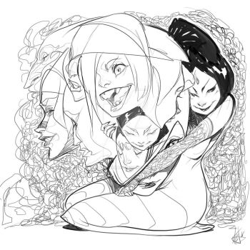 Witch Summons A Bunch Of Heads by Chaosmember