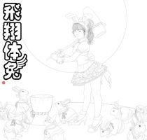 chinese zodiac year of the rabbit yukina lineart by Rijio