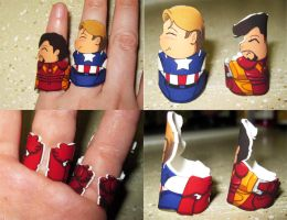 Captain America and Iron Man rings by otterling