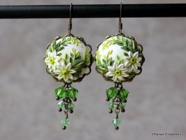 Polymer Clay Applique Floral Earrings by CharanCreations