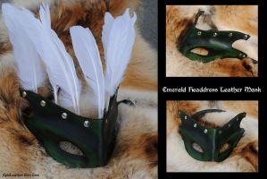 Emerald Headdress Leather Mask by Epic-Leather